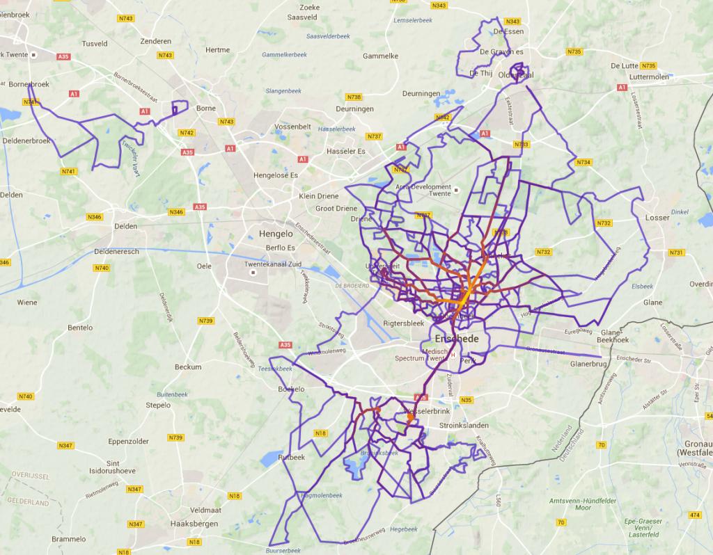 heelhardlopen - heatmap gelopen km 2015
